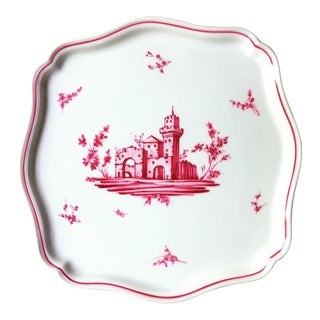 1950s Richard Ginori Italian Hand Painted Pink Castles Tray For Sale
