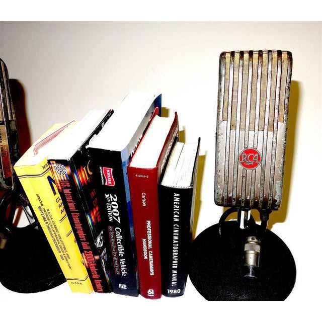 Red 1945 RCA Vintage Broadcast Microphones As Bookends or As Sculpture. Rare and Original. For Sale - Image 8 of 10