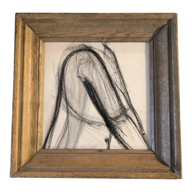 Vintage Original Charcoal Study Drawing Modernist Wood Frame 1940's For Sale