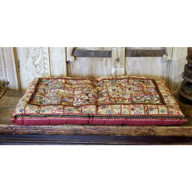 This captivating Jaislmer floor cushion is a stunning accent with an extensive history. This vintage cotton fabric cushion...