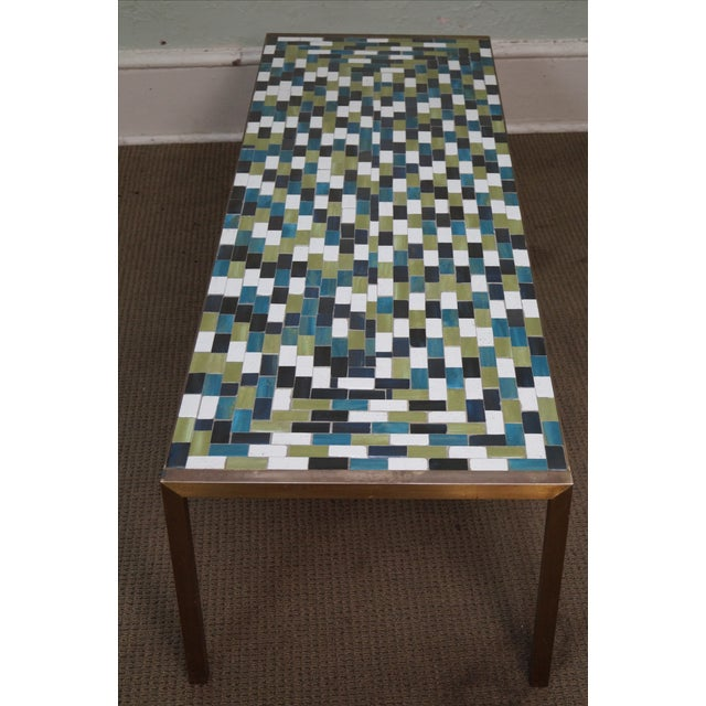 Mid Century Brass Coffee Table with Tile Top - Image 6 of 10