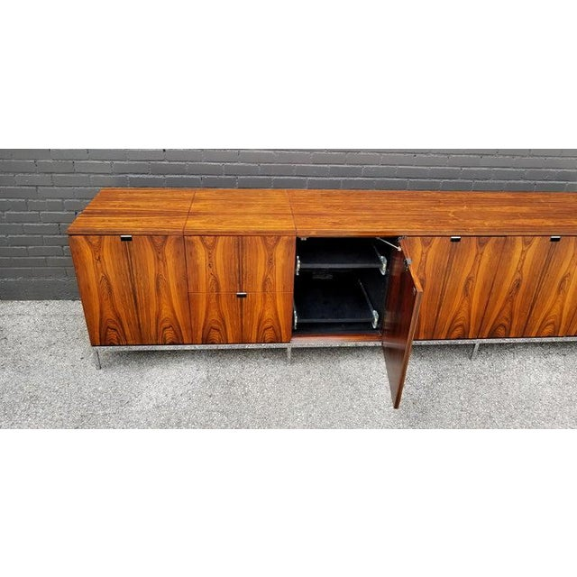Custom Bookmatched Brazilian Rosewood Florence Knoll Media Cabinet For Sale - Image 12 of 13
