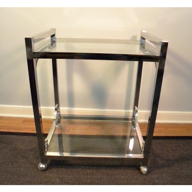 Mid-Century Chrome & Glass Bar Cart - Image 2 of 8