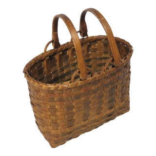 Nice Small Antique Hand Woven Ash Splint Swing Handle Basket For Sale