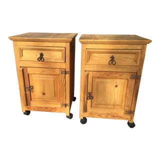 Pair of Rustic Pine Nightstands For Sale