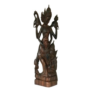 Asian Mother and Child Statue With Ganesha, Wood Carving For Sale