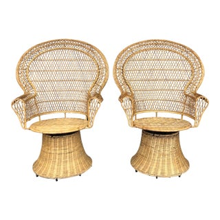 Vintage Wicker Peacock Swivel Chairs- a Pair For Sale