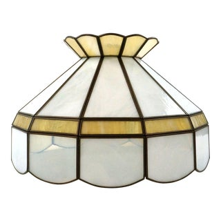 Antique Amber & Marble Stained Glass Lampshade