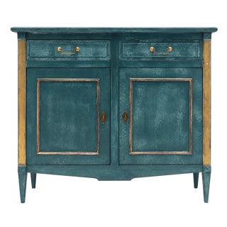 Directoire Style Teal Antique Buffet For Sale
