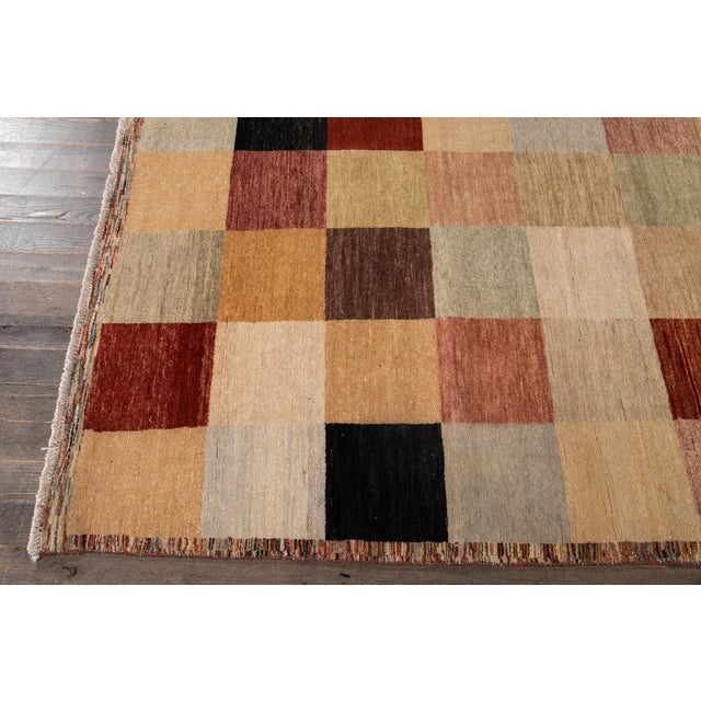 Apadana - Modern Oversize Multicolored Geometric Indian Gabbeh Rug, 10.06x15.06 For Sale In New York - Image 6 of 11