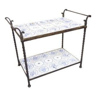 Vintage Mediterranean Iron & Blue & White Tile Table For Sale