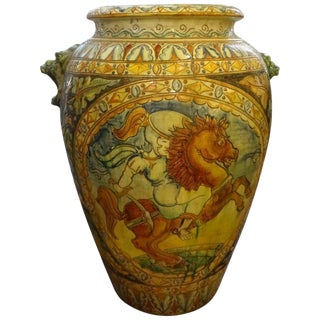 Large Italian Glazed Terra Cotta Urn With Horse Motif For Sale