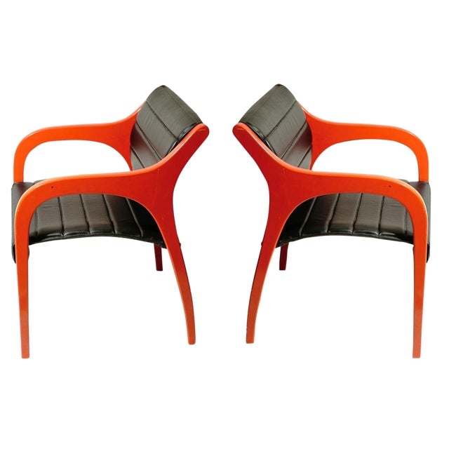 Claudio Salocchi Leather Armchairs - A Pair For Sale
