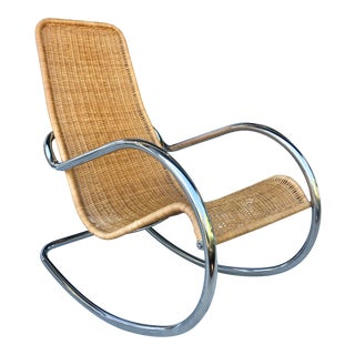 Rattan and Chrome Italian Rocking Chair For Sale