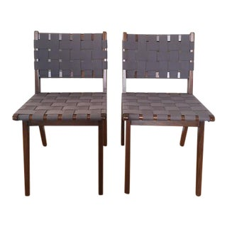 Jens Risom for Knoll Studio Webbed Wood Side Chairs–Pair For Sale