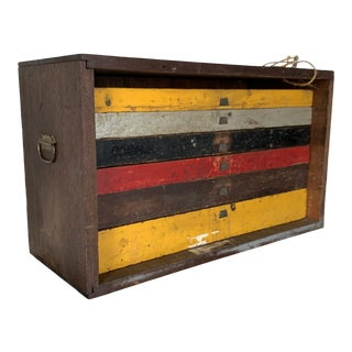 Antique Industrial Machinist Wood Tool Chest For Sale