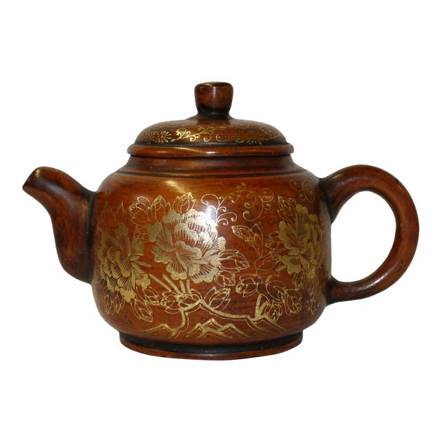 Chinese Zisha Clay Brown Golden Scenery Teapot Display For Sale