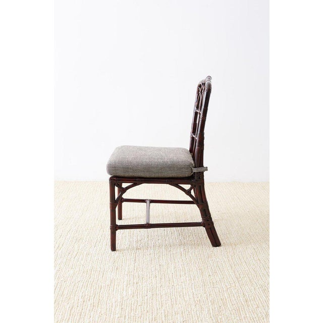 Set of Four McGuire Lacquered Bamboo Dining Chairs For Sale In San Francisco - Image 6 of 13