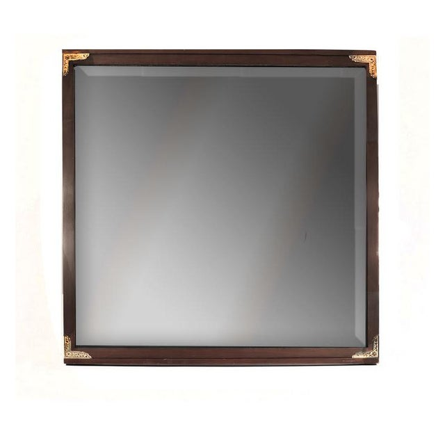 1950s Arts and Crafts John Van Koert for Drexel Cherrywood Campaign Style Wall Mirror For Sale In Palm Springs - Image 6 of 6