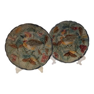 French Majolica Bird Plates - A Pair For Sale