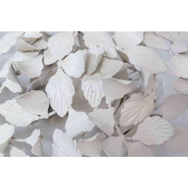 Mid 20th Century White Tole Leaf Cluster Low Relief Wall or Ceiling Lights - 3 Available For Sale - Image 5 of 9