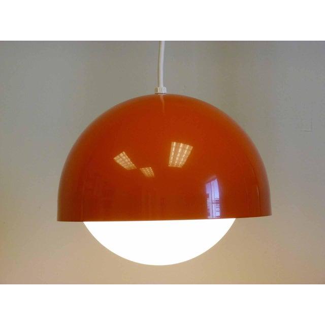 Orange Dome Mid-Century Pendant Lamp, New Old Stock - Image 6 of 9