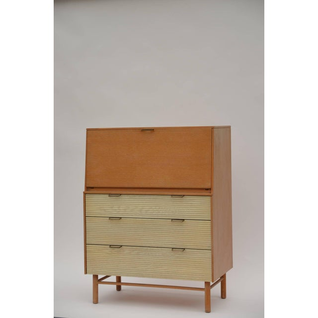 Pristine Mid-Century secretary cabinet by Raymond Loewy for Mengel. Well preserved original finishes. Museum quality...