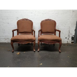1960s Vintage Louis XVI Brown Wood and Velvet Striped Chairs - a Pair Preview