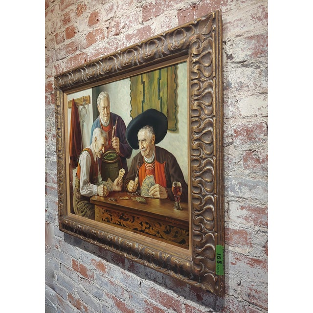 Otto Eichener -The Card Players -Oil Painting For Sale - Image 9 of 11
