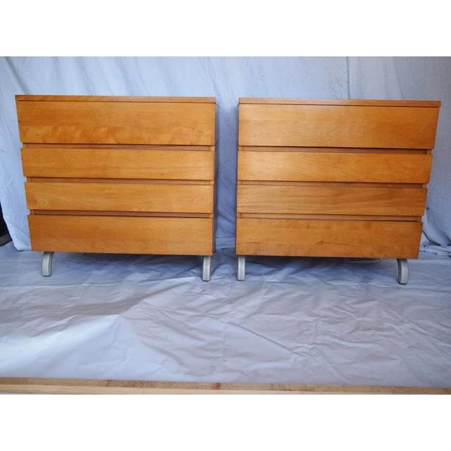 Pair of Midcentury Kensington chests with aluminum legs designed by Lurelle Guild for Alcoa Aluminum. These chests are...