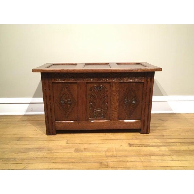 1960s Vintage Carved Oak Coffer For Sale - Image 10 of 10