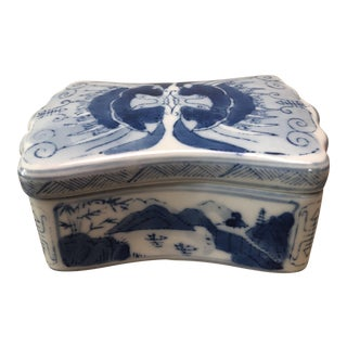 Vintage Blue & White Signed Porcelain Box For Sale
