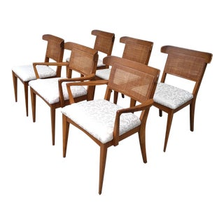 Mid-Century Modern Tomlinson Style Cane Back Dining Chairs - Set of 6