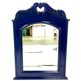 20th Century Vintage Mahogany Lacquered Federal Blue Cartouche Acanthus Hanging Mirror For Sale