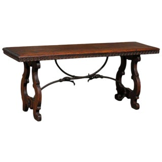 Baroque Revival Spanish Wooden Bench with Lyre-Shaped Legs and Iron Stretchers