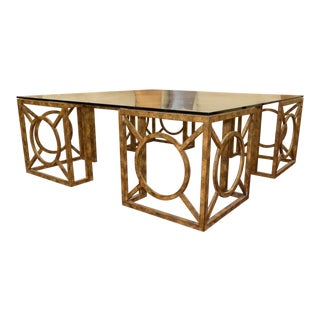 Contemporary Geometric Design Iron Coffee Table With Glass Top For Sale