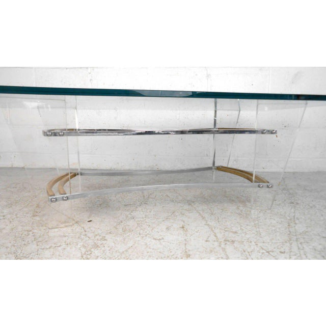 Mid-Century Modern Vintage Lucite and Brass Coffee Table by Charles Hollis Jones For Sale - Image 3 of 7