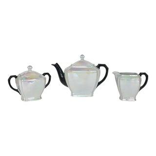 German Art Deco Lusterware Tea Service Set- 3 Pieces For Sale