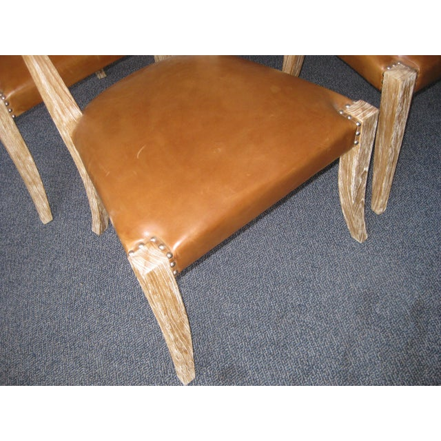Klismos Style Chairs With Leather Seats - Set of 4 - Image 4 of 9