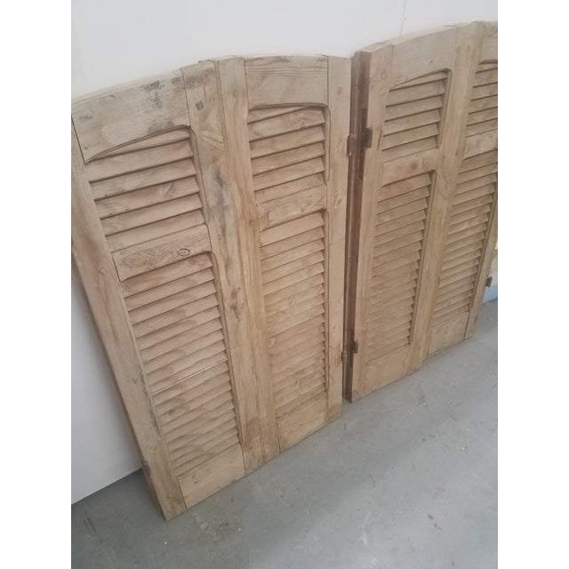 Antique Curved Wooden Shutters - Set of 4 For Sale - Image 10 of 11
