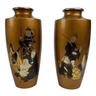 Antique Japanese Gilt Bronze Vases With Immortal Figures - A Pair