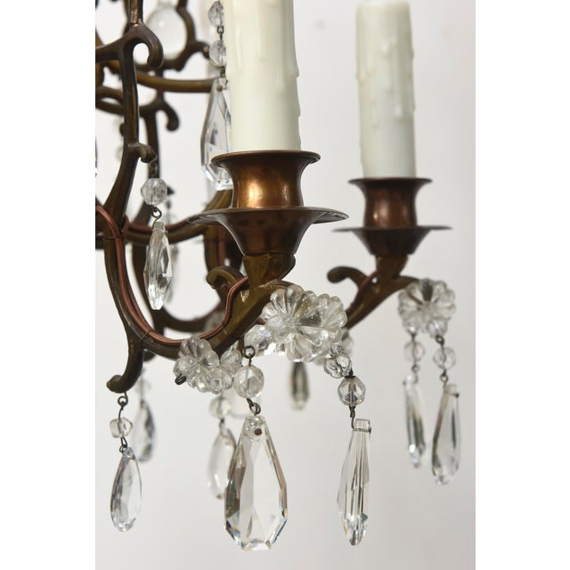 Early 20th Century Bohemian Bronze and Crystal Eight Light Chandelier For Sale - Image 5 of 6