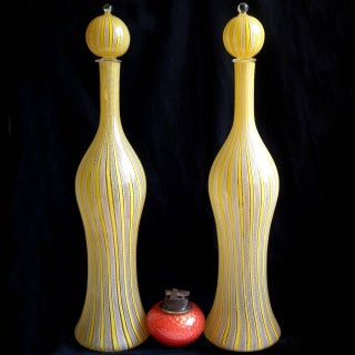 Fratelli Toso Murano Yellow White Ribbons Italian Art Glass Decanters Preview