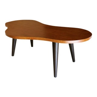 Mid Century Bird's-Eye Maple & Leather Biomorphic Desk For Sale