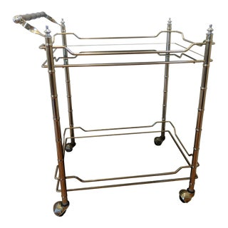 Mid Century Modern Brass Faux Bamboo Rolling Cart