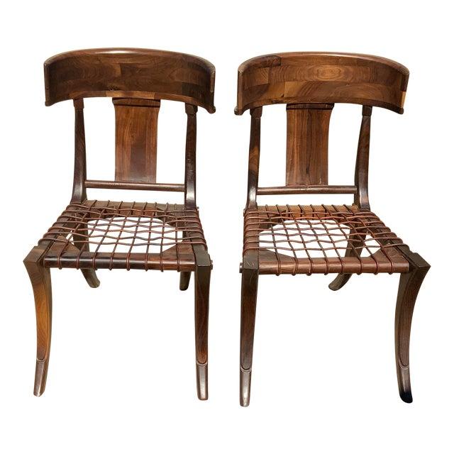 Klismos Walnut Chairs - a Pair For Sale