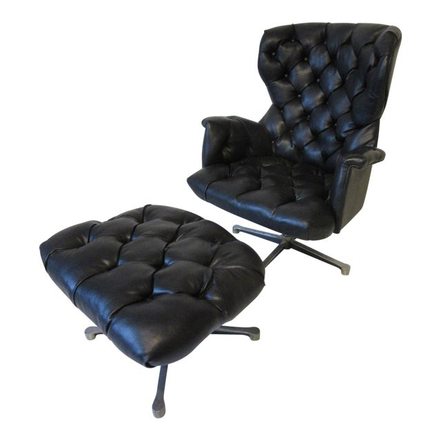 Tufted Swiveling Lounge Chair and Ottoman For Sale