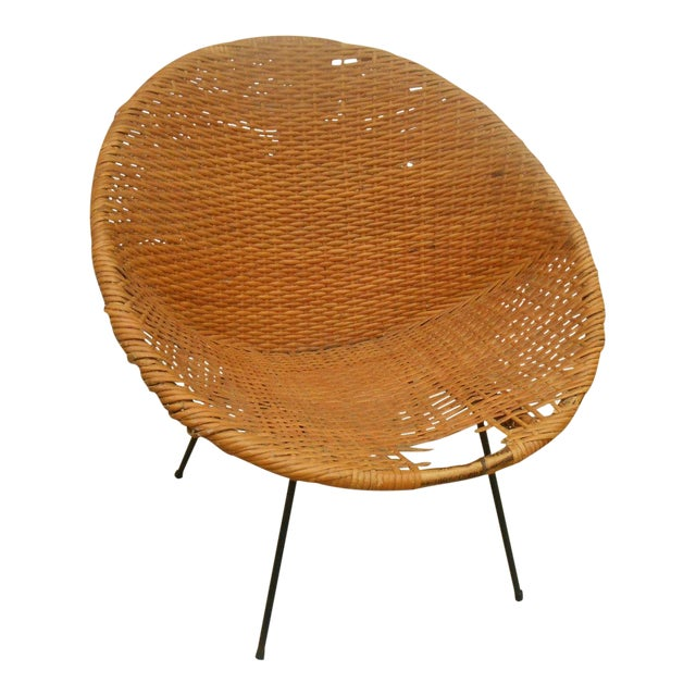 Black Iron & Wicker Atomic Saucer Disc Chair - Image 1 of 5