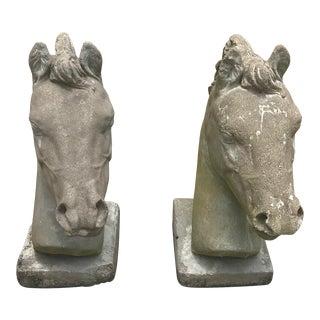 Vintage Concrete Architectural Horse Heads - a Pair For Sale