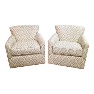 Custom Pair of Swivel Chairs With Contemporary Fabric